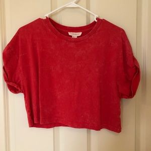 Forever 21 Red Crop Top Tee